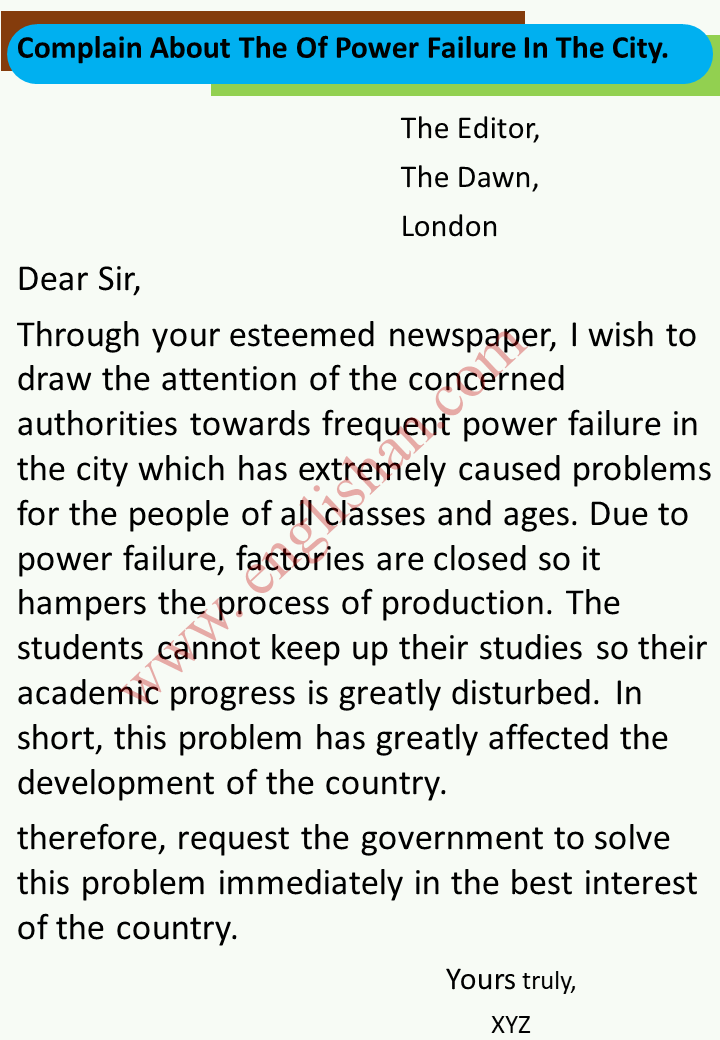 Complain About The Of Power Failure In The City.