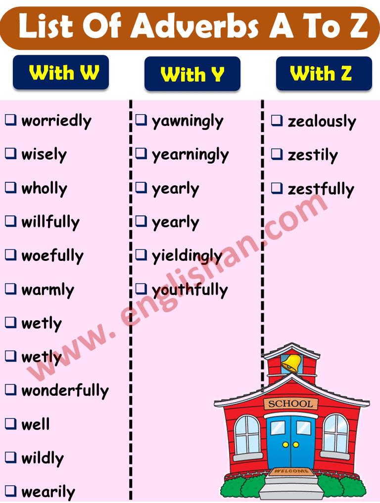 List of Adverb W